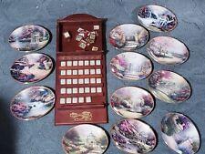 Thomas Kinkade Perpetual Calendar Cherry Wood Display Set Of 12 Plates