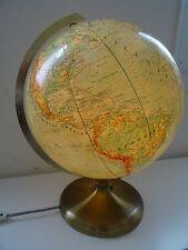 Schwerer JRO Glas Erdglobus Messingfuss Glaskugel Globus beleuchtet ~ 50er 60er
