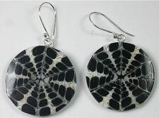 STERLING SILVER Black & White Shell Earrings