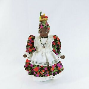 "Brazilian Doll on Metal Stand Handmade Dress Fruit on Head 14.5"""