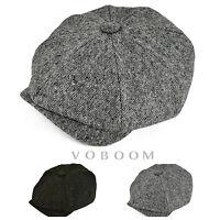Casquette de gavroche à rayures en laine pour hommes gatsby tweed Gris / Vert