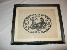 Amazing Very Old & Rare Hand Made Cross Stich Cupid Framed Piece 1930