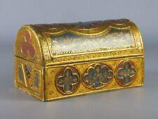 Antique Box Wood Bauletto Renaissance Painting With Gold Beginning Xx Century