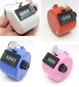 Clicker 4 Digit Display Number Counter Hand Manual Counting Tool UK Pink Blue UK