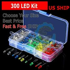 300 pcs 3mm 5mm LED Light White Yellow Red Green Assortment Kit for Arduino