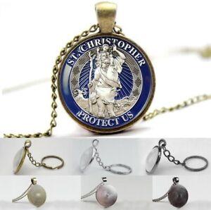 Saint Christopher - Protect Us - Photo Glass Dome Necklace, Pendant, Keyring
