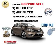FOR NISSAN PULSAR 1.2 DIG T 2014 > NEW OIL AIR POLLEN ( 3 ) FILTER SERVICE KIT