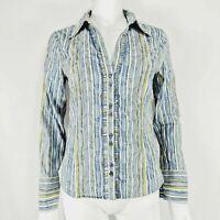 Per Una UK 10 Blouse Stripe Ladies Shirt M&S Blue & White Yellow Long Sleeve