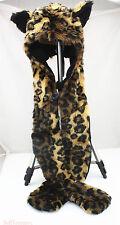 Leopard Faux Fur Full Animal Hood Hoodie Hat 3 in 1 Scarfs Cool For Xmas Gift