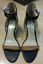 Vince Camuto Wynter Black/Outback Solid Lizard Sandals Wedge Size 8.5 NIB Pretty