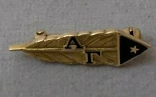 Antique Alpha Gamma 14k Solid Yellow Gold Sorority Pin. Feather Quill Pen / Star