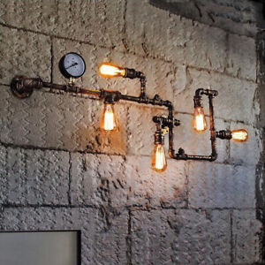 Industrial 5 Lights Water Pipe Wall Sconce Vintage Steampunk Metal Wall Light