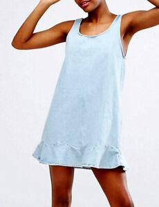 NEW MONKI  FLIP RUFFLE HEM DENIM DRESS  S 4 8   $120 WOMEN BLUE ASOS