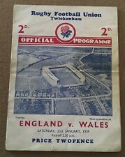 More details for england v wales @ twickenham 21st jan 1939 rugby union