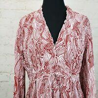 Allison Taylor Blouse Womens Size XL Crinkle Empire Waist Long Sleeve Polyester