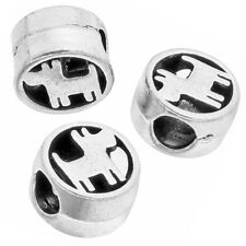 50pcs Retro Vintage Silver Dogs Round Alloy Spacer Beads Fit European Charms D