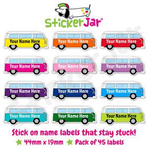 45 Personalised Name Labels Stickers Kids School Camper Van Campervan NL08