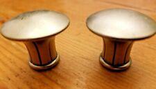 Flat Round Pair of Cabinet Knobs, Pewter Finish Door/Drawer Hardware
