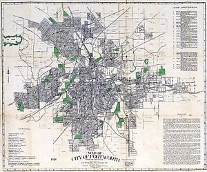 """1929 Fort Ft Worth TX City Road/Street Map-24"""" by 36"""" Print - Uncommon"""