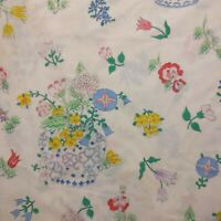 Vtg Martex Barbara Brody Twin Sheet Set Flat Fitted Floral Blue Vase Percale