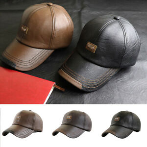Men Hats Baseball Caps Leather Outing Cap Fashion Casual Adjustable Winter Warm