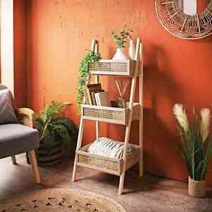 Urban Paradise 3 Tier Natualr Finish Ladder Shelf With Cane Detail Natural