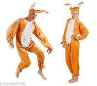 Adults Ladies Mens Brown Rabbit Easter Bunny Hare Fancy Dress Costume All In One