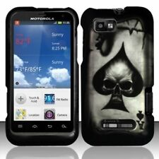 For Motorola Defy XT Rubberized HARD Protector Case Phone Cover Spade Skull