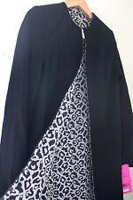 NWT Betsey Johnson Black Snow Leopard Reversible Elegant Wool Coat M $280