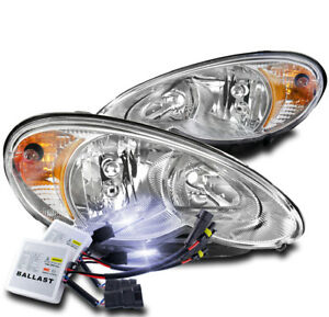 FOR 06-10 CHRYSLER PT CRUISER CRYSTAL STYLE HEADLIGHTS LAMPS CHROME W/10000K HID