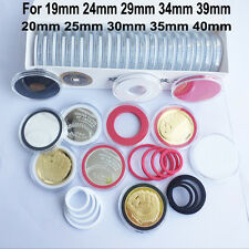 20 Coin Case Capsules Holder Storage Display for for 19-40mm+Adjustable Ring US