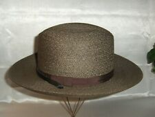 """Vintage Genuine Milan Green Straw Hat """"The Lawman"""" Hat Size 7 Made in the Usa"""