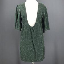 URBAN OUTFITTERS Sweater M Green Flecked LUX Scoop Neck Wool Silk Blend Tunic