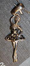 Sterling Silver Ballerina Pendant Chain SWAROVSKI Amber Crystals Figurine Charm