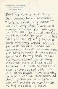 Lucian FREUD - Lettre autographe signée à Ann Fleming. Hotel Bedroom 1953