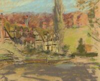 Alice Des Clayes ARCA Hamlet of Houses – Original 20th-century pastel drawing