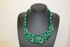 Handmade Malachite, Jade and Crystal Statement Necklace Accessories Fashion