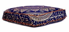 Indian Square Floor Pillow Ombre Mandala Printed Blue Ottoman Cushion Pouf Decor