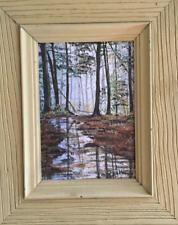Vintage Original Oil Painting Artist Signed Woods Landscape