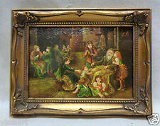 Picture of Gathered People Outdoors w. Gold Finish Antique Style Ornate Frame