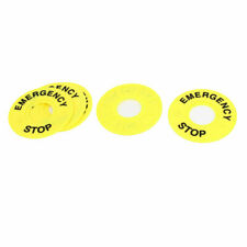Yellow Emergency Stop Push Button Switch Label Panel 5 Pieces
