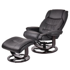 PU Leather Executive Leisure Recliner Chair Swivel Furniture w/ Ottoman New