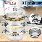 3 Tier Food Steamer Meat Vegetable Cooker Stainless Steel Steam Pot Kitchen Tool