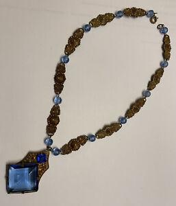 """Czech Art Deco Necklace Blue Glass Unique Ornate Brass Filigree Vintage 16"""""""