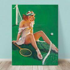 "VINTAGE Pin-up Girl CANVAS PRINT Gil Elvgren  24x16"" Net Results Tennis Player"