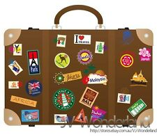 Travel Countries Luggage Guitar Wall Decor Vinyl Decal Art Removable  Stickers