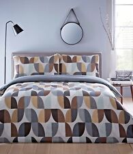 KING SIZE DUVET COVER SET ABSTRACT YELLOW GREY REVERSIBLE NATURAL BEIGE