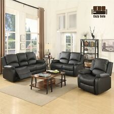 3 Set Sofa Loveseat Chaise Couch Recliner Leather Living Room Furniture in Black