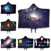 3D Galaxy Solar System Velvet Fleece Hooded Blanket Warm Hoodie Cloak Blanket