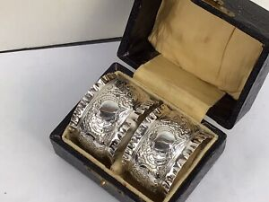 Excellent Pair of Victorian Silver Napkin Rings, Boxed and No Initials - 1896